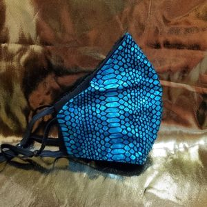 Metallic blue face mask